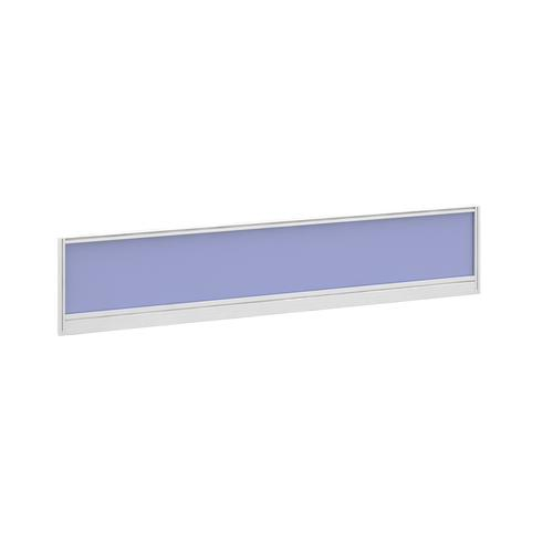 Straight glazed desktop screen 1800mm x 380mm - electric blue with white aluminium frame