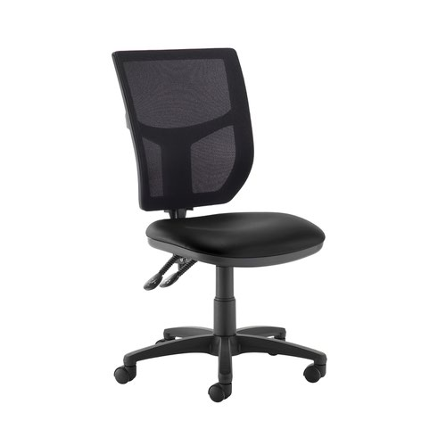 Altino 2 lever high mesh back operators chair with no arms - Nero Black vinyl