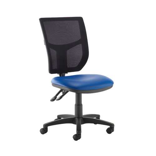 Altino 2 lever high mesh back operators chair with no arms - Ocean Blue vinyl