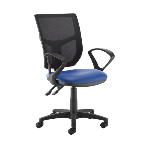 Altino 2 lever high mesh back operators chair with fixed arms - Ocean Blue vinyl