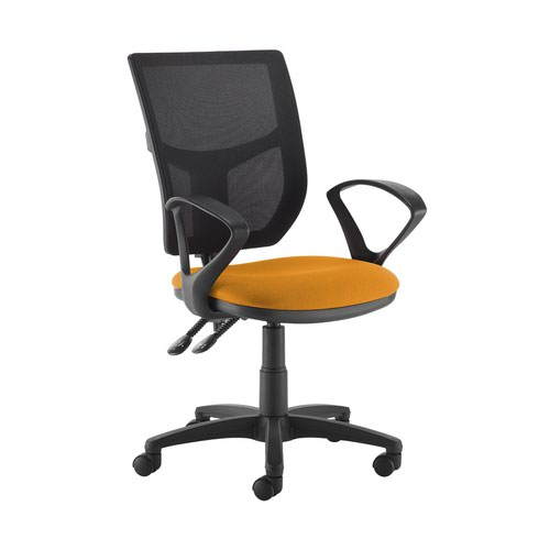 Altino 2 lever high mesh back operators chair with fixed arms - Solano Yellow