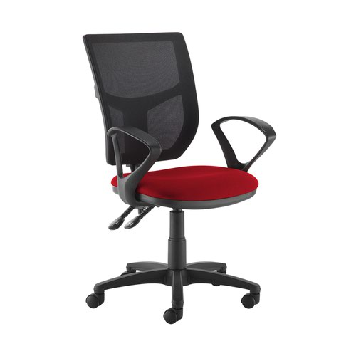 Altino 2 lever high mesh back operators chair with fixed arms - Panama Red