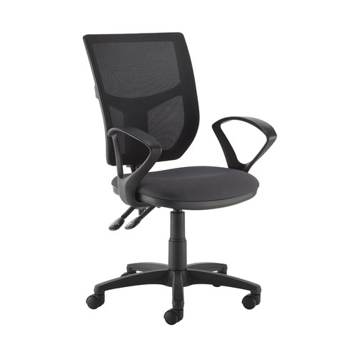 Altino 2 lever high mesh back operators chair with fixed arms - Blizzard Grey