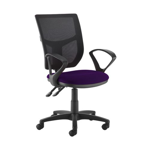 Altino 2 lever high mesh back operators chair with fixed arms - Tarot Purple