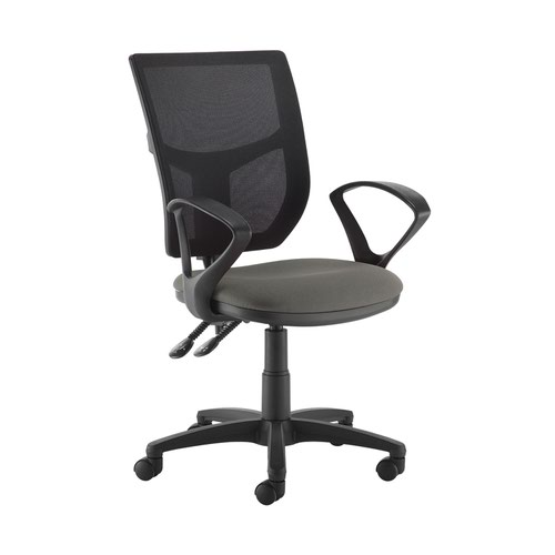 Altino 2 lever high mesh back operators chair with fixed arms - Slip Grey