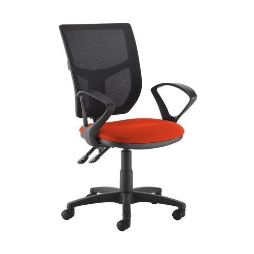 Altino 2 lever high mesh back operators chair with fixed arms - Tortuga Orange