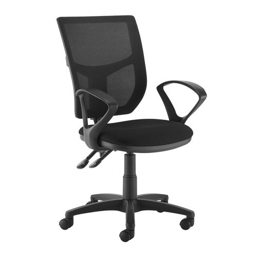 Altino 2 lever high mesh back operators chair with fixed arms - black