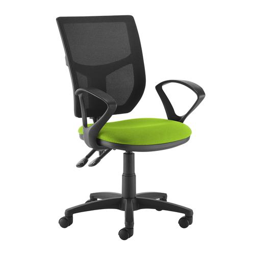 Altino 2 lever high mesh back operators chair with fixed arms - green