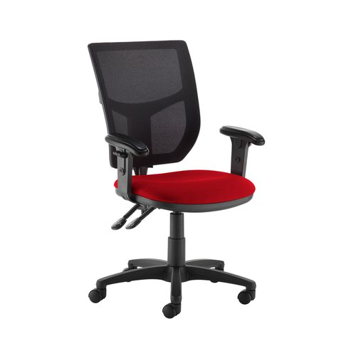 Altino 2 lever high mesh back operators chair with adjustable arms - Panama Red