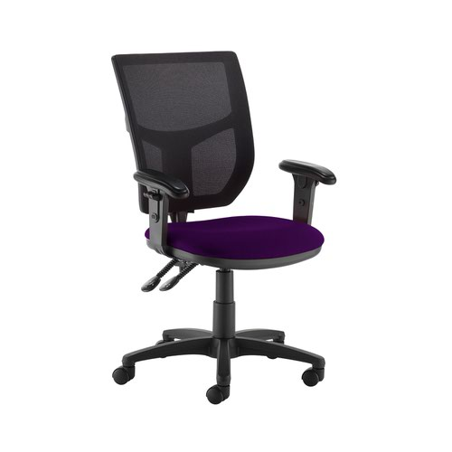 Altino 2 lever high mesh back operators chair with adjustable arms - Tarot Purple