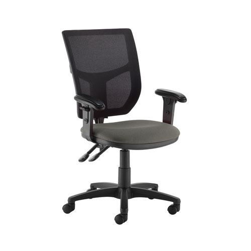 Altino 2 lever high mesh back operators chair with adjustable arms - Slip Grey