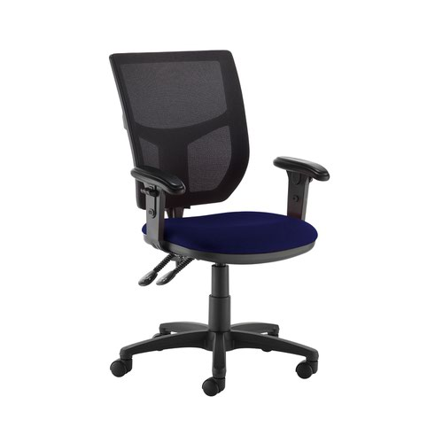 Altino 2 lever high mesh back operators chair with adjustable arms - Ocean Blue