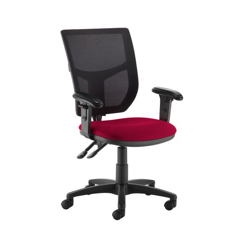 Altino 2 lever high mesh back operators chair with adjustable arms - Diablo Pink