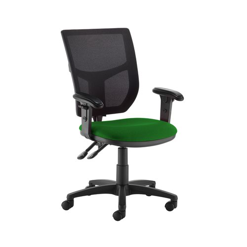 Altino 2 lever high mesh back operators chair with adjustable arms - Lombok Green
