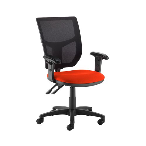 Altino 2 lever high mesh back operators chair with adjustable arms - Tortuga Orange