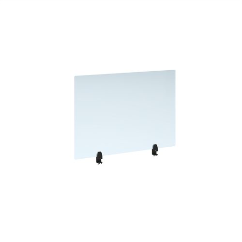 Straight high desktop acrylic screen with black brackets 1000mm x 700mm