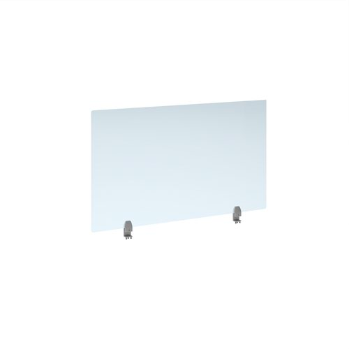 Straight high desktop acrylic screen with silver brackets 1200mm x 700mm