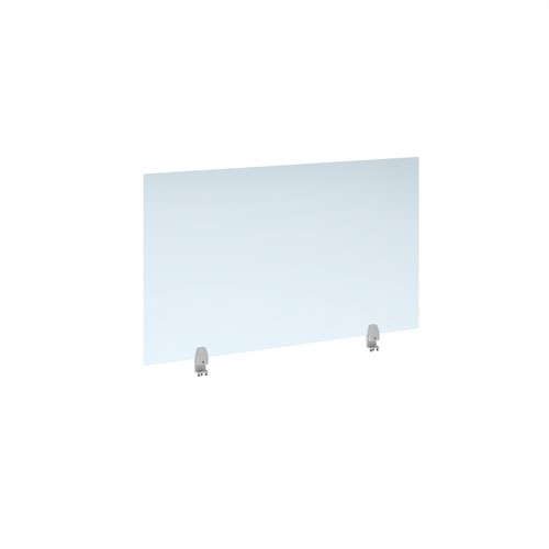 Straight high desktop acrylic screen with white brackets 1200mm x 700mm