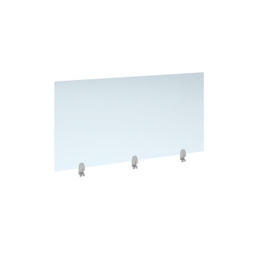 Straight high desktop acrylic screen with white brackets 1400mm x 700mm