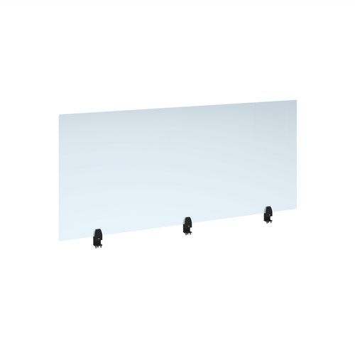 Straight high desktop acrylic screen with black brackets 1600mm x 700mm