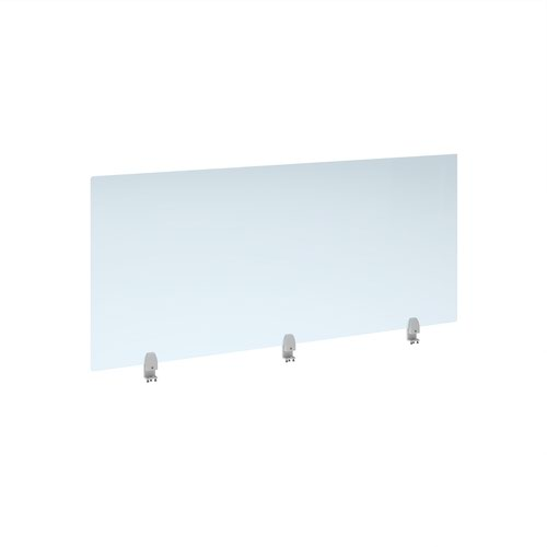 Straight high desktop acrylic screen with white brackets 1600mm x 700mm