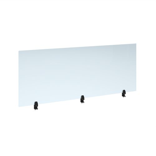 Straight high desktop acrylic screen with black brackets 1800mm x 700mm