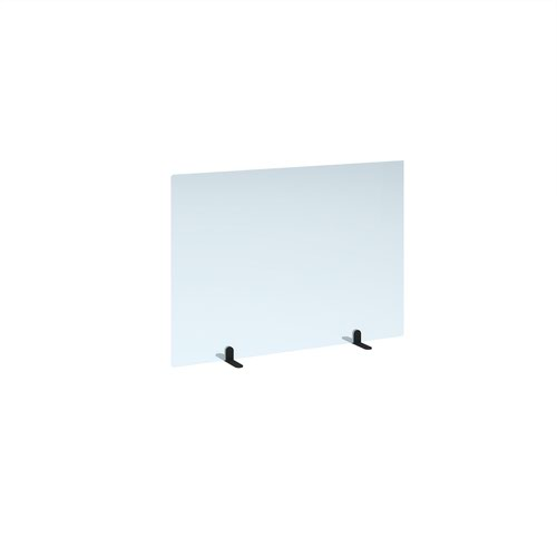 Free standing acrylic 700mm high screen with black metal feet 1000mm wide
