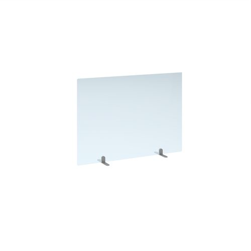 Free standing acrylic 700mm high screen with silver metal feet 1000mm wide