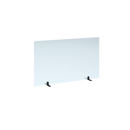 Free standing acrylic 700mm high screen with black metal feet 1200mm wide
