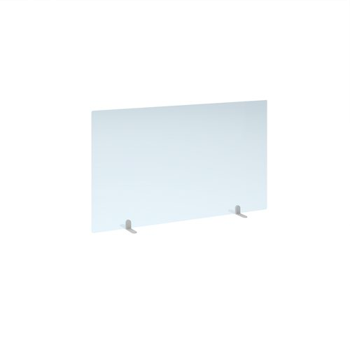 Free standing acrylic 700mm high screen with white metal feet 1200mm wide