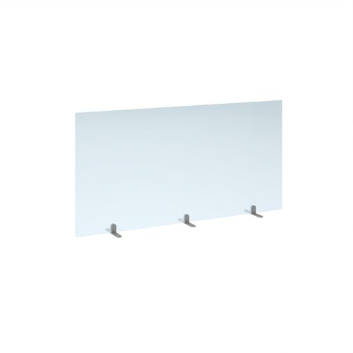 Free standing acrylic 700mm high screen with silver metal feet 1400mm wide