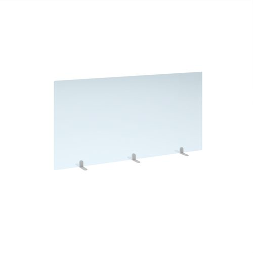 Free standing acrylic 700mm high screen with white metal feet 1400mm wide