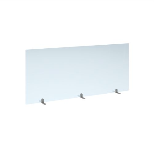 Free standing acrylic 700mm high screen with silver metal feet 1600mm wide