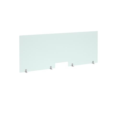 Free standing acrylic 700mm high screen with cutout and metal feet 1800mm wide