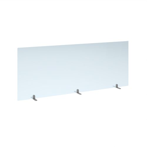 Free standing acrylic 700mm high screen with silver metal feet 1800mm wide