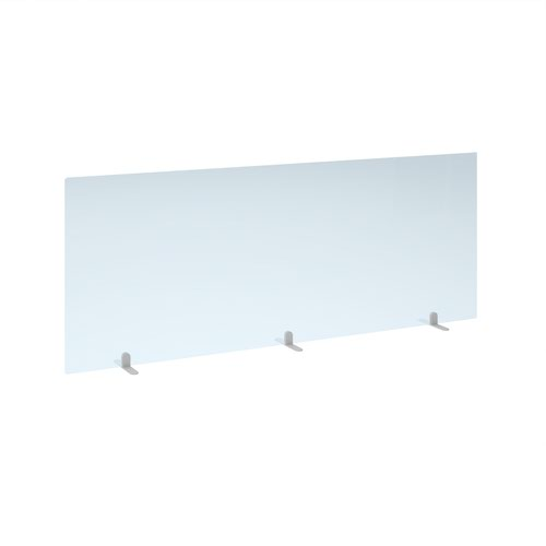 Free standing acrylic 700mm high screen with white metal feet 1800mm wide