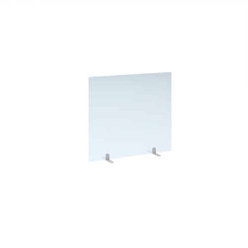 Free standing acrylic 700mm high screen with white metal feet 800mm wide