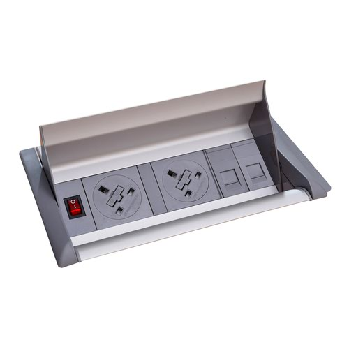 Aero fliptop in-table power module 2 x UK sockets and 2 x RJ45 sockets - grey/silver