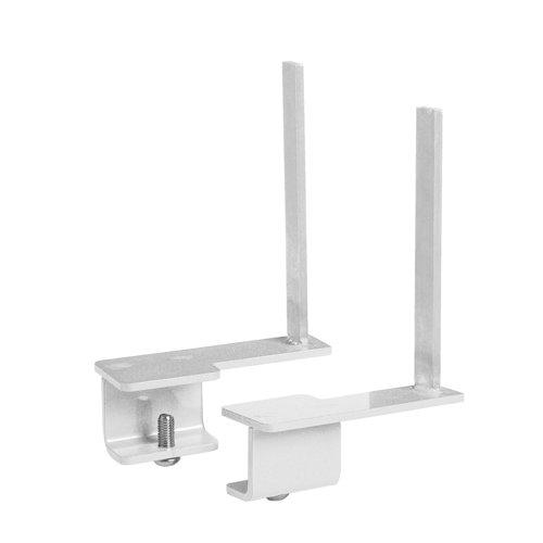 Aluminium framed screen brackets (pair) to fit on back of desk - white