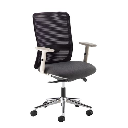 Arcade black mesh back operator chair with black fabric seat and grey frame and chrome base