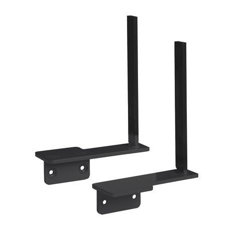 Aluminium framed screen brackets (pair) to fit on desk return - black