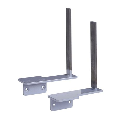 Aluminium framed screen brackets (pair) to fit on desk return - silver