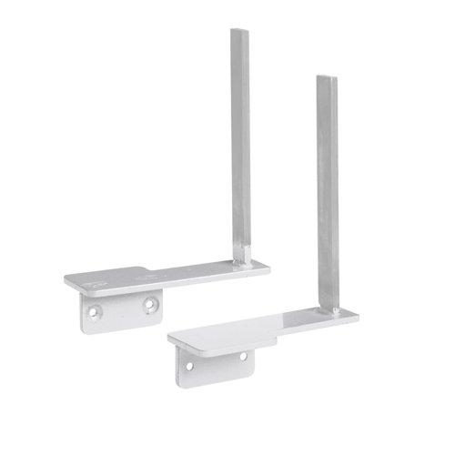 Aluminium framed screen brackets (pair) to fit on desk return - white