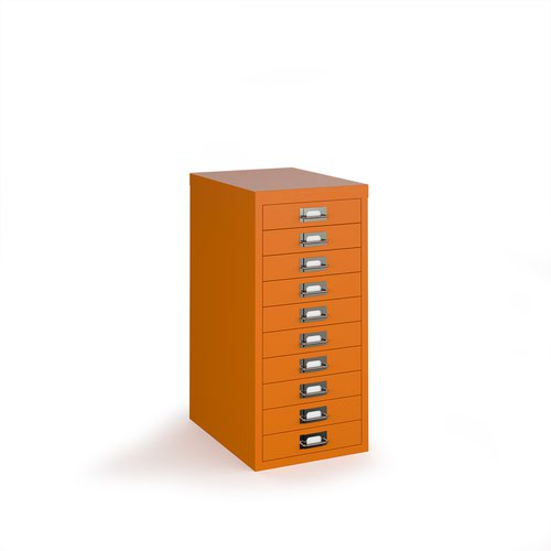 Bisley multi drawers with 10 drawers - orange