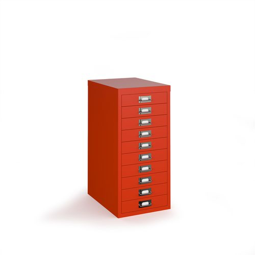 Bisley multi drawers with 10 drawers - red