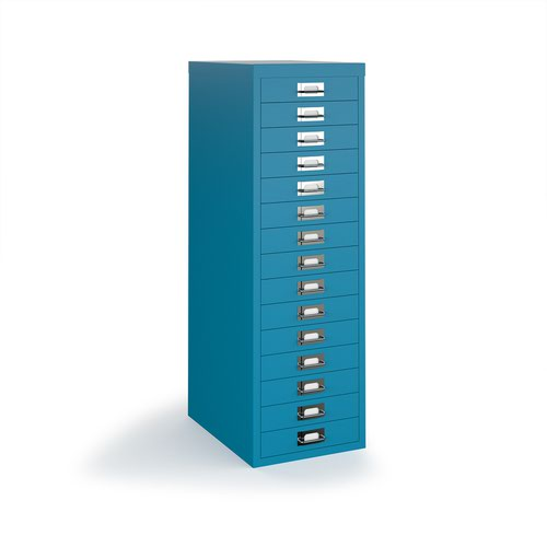 Bisley multi drawers with 15 drawers - blue