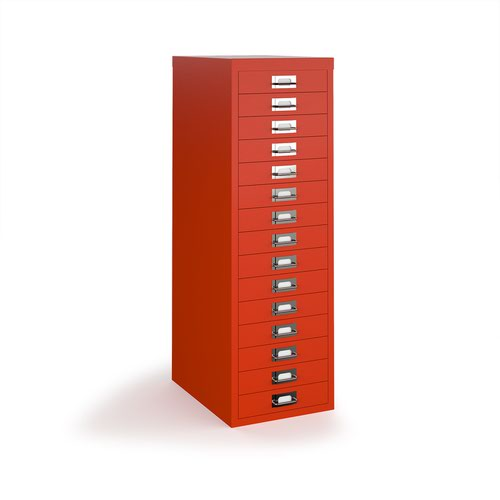 Bisley multi drawers with 15 drawers - red