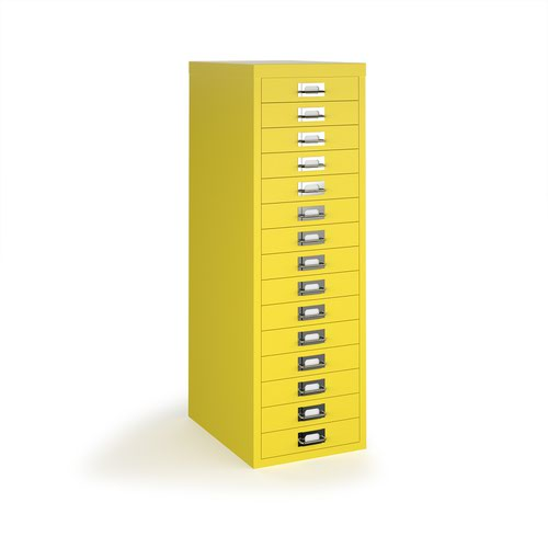 Bisley multi drawers with 15 drawers - yellow