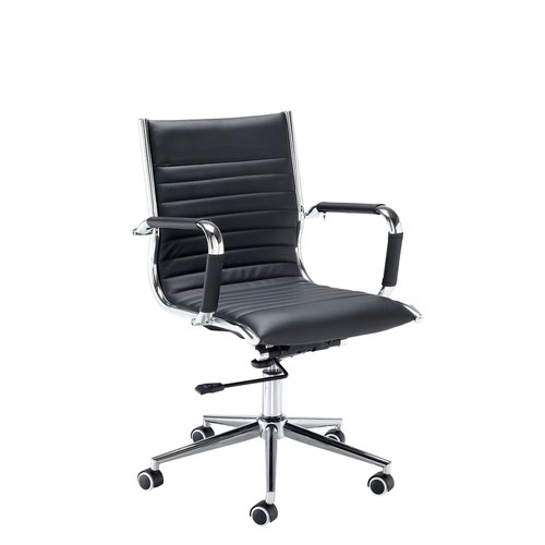 Bari medium back executive chair - black faux leather