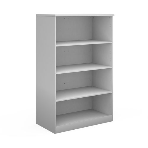 Deluxe bookcase 1600mm high with 3 shelves - white